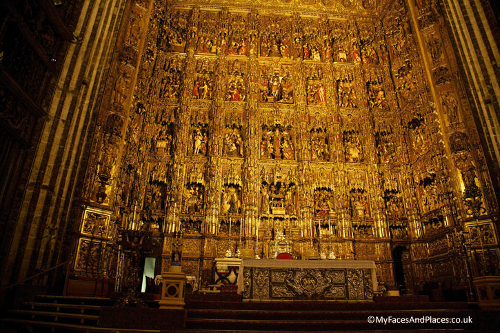 The glorious Retablo Mayor in Seville Cathedral.