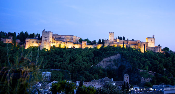 The splendour of the Alhambra in the evening in Granada