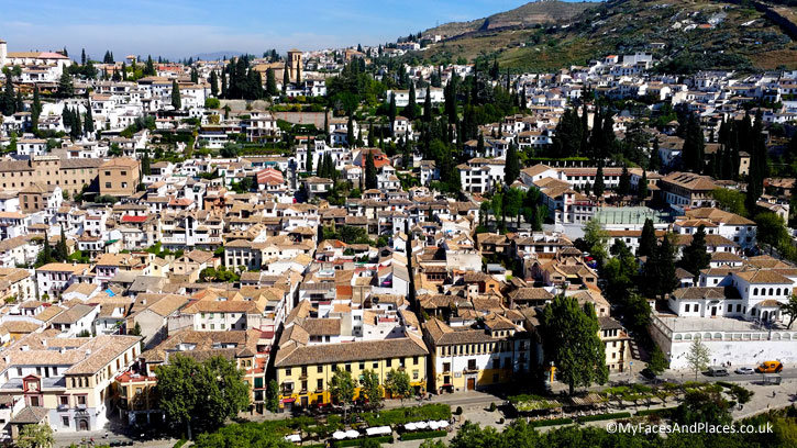Aerial view of the town of Granada