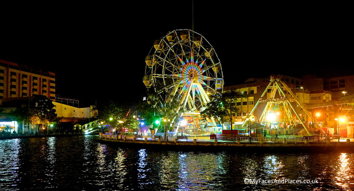 Pirate Park is a conventional amusement park and the Melaka River Cruise provides a close up view.