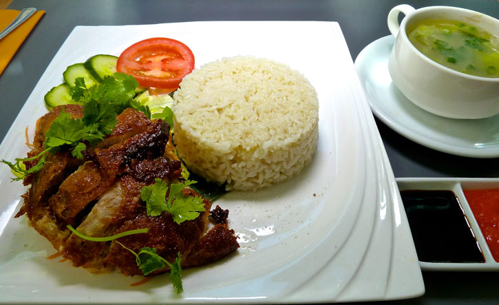 Hainanese Chicken Rice with the Roast Chicken alternative at Selesa Restaurant at Grand Plaza Serviced Apartments, London