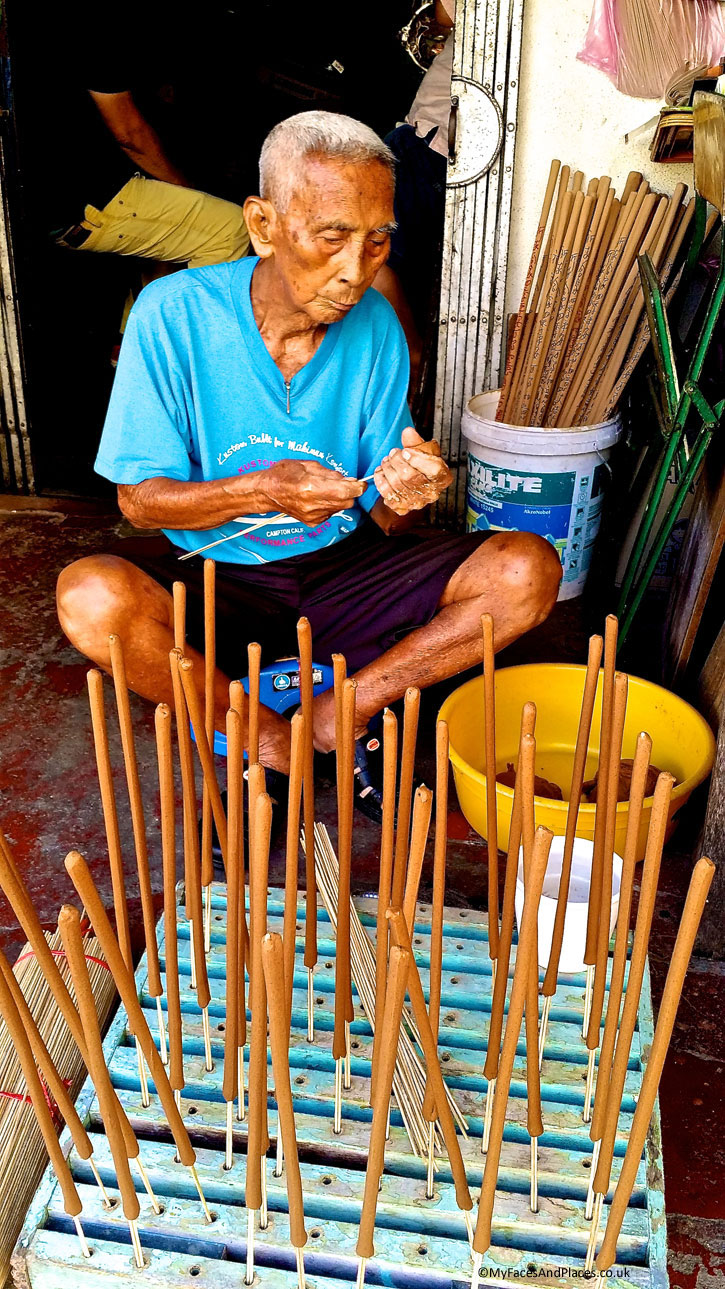 "Lee Beng Chuan (Stewart Lane) - Joss stick maker. Mr Lee, the artisan, uses sandalwood from Western Australia for his handmade joss sticks, also known as ""The Incense of the Gods"".This is one of the traditional artisans working in the World Heritage Site."