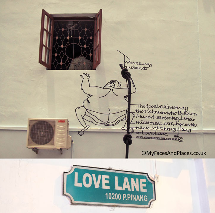 """Love Lane"": A man clings onto the drain pipe outside the window of his mistress's room. His wife has just made a surprised visit looking for him: ""Where is my husband?"" ""The local Chinese say the rich men who lived on Muntri Street kept their mistresses here, hence the name ""Ai Cheng Hang or Love Lane""""."