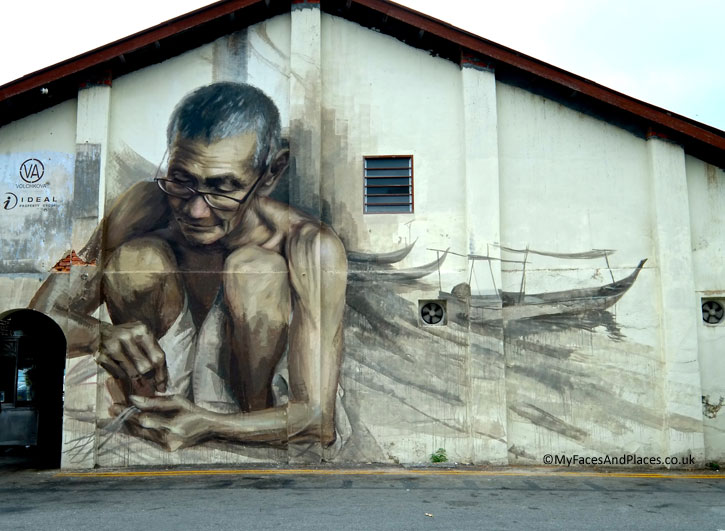 """The Old Fisherman"". It depicts the traditional craft of fishing in small boats and the fishing villages in Penang."